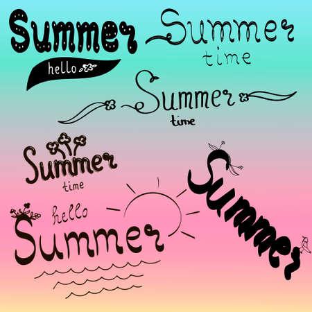 Retro hand getrokken elementen voor zomer kalligrafische ontwerpen.