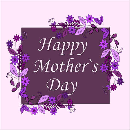 textspace: Mothers day greeting card with flowers background colorful