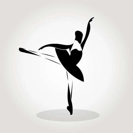 vector sillhouette of a dancing girl, ballet, girl practicing dance, dance studio Illustration