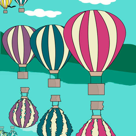storybook: Hot air balloon in the sky vector illustration background greeting card retro