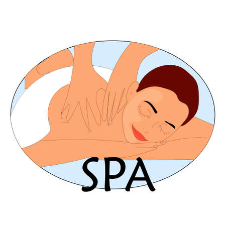beauty therapist: Beautiful young woman relaxing at spa salon Face and Body massage Illustration