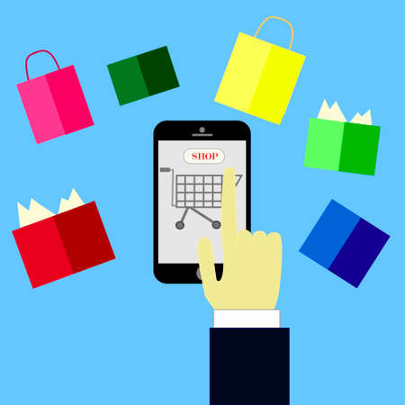 carport: online shopping concept,hand buying with cellphone,shop online