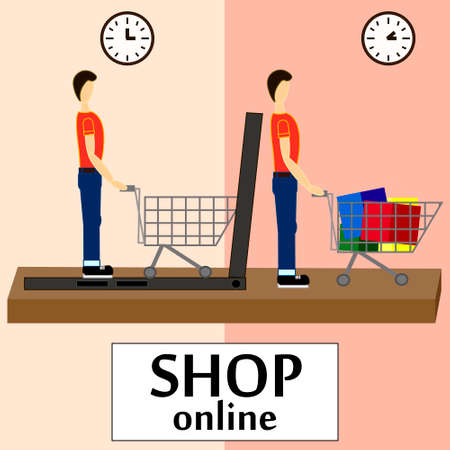 onlineshop: On line store. Sale, Laptop with awning Illustration