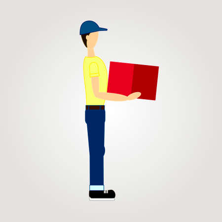 Delivery man. Vector illustration flat illustration, men with the box