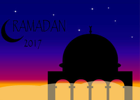 Ramadan Kareem greeting with mosque and calligraphy lettering which means Ramadan kareem on night cloudy background. Vector illustration.