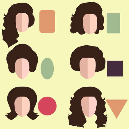 9 別の女性の顔の形をセットします。  イラスト・ベクター素材