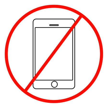 ring road: No cell phone sign on white background.vector Illustration