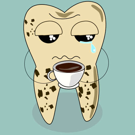 dental cartoon vector, teeth problem from coffee illustration
