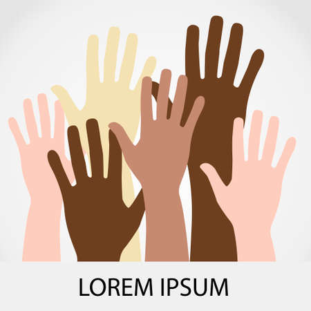 elimination: Raised hands up together with different skin tone of many peoples concept of democrazy, volunteer, or racial concept design by vector illustrator Illustration