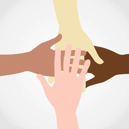 Raised hands up together with different skin tone of many peoples concept of democrazy, volunteer, or racial concept design by vector illustrator Illustration