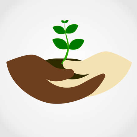 Illustration of human hand holding green small tree. Image for booklets, banners, flayers, Illustration