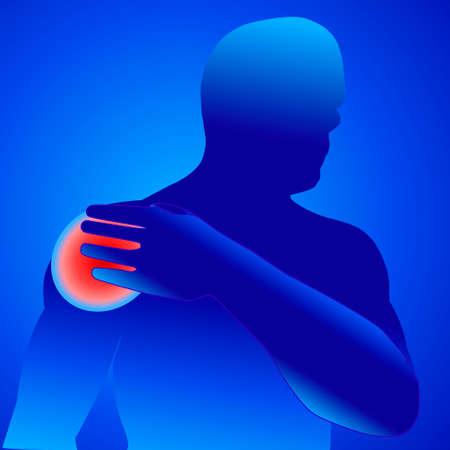 lesion: illustration vector of shoulder bone and joint pain mens shoulder