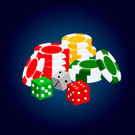Realistic casino elements: roulette, chips, gold coin stack, cards and dices Illustration