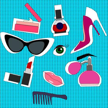 Hand drawn fashion set. Collection of cosmetics: Nail polish, mascara, lipstick Illustration