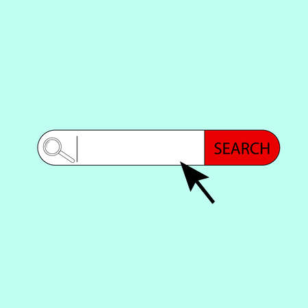 lupa: search bar.vector illustration.on blue background arrow and lupa