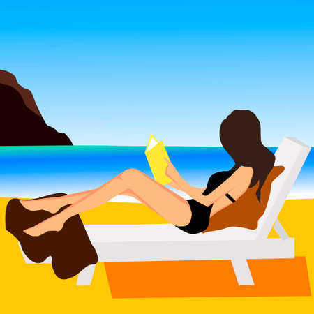 Girl on beach design flat vector illustration