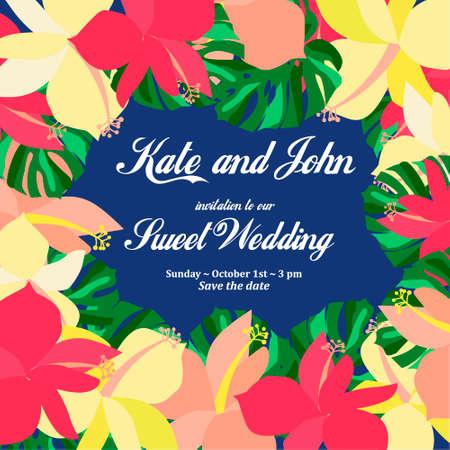 De Kaart van de Uitnodiging van het huwelijk. Tropische Bloemen Achtergrond. Banaan. Sla de datum op. Vector