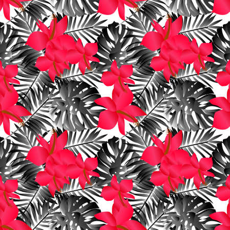 seamless tropical flower ,plant vector pattern background