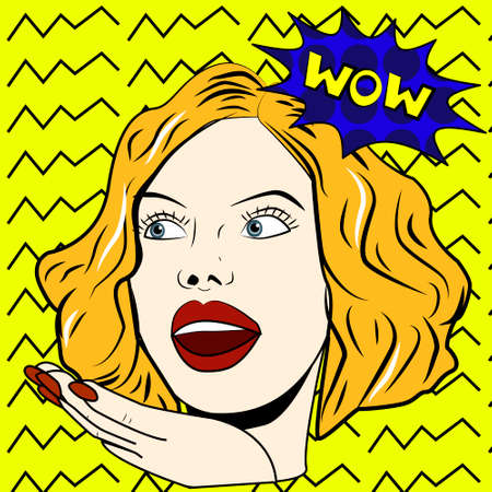 Surprised woman says Wow pop art