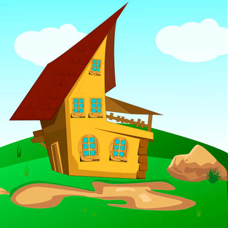 fairy-tale house among trees with walk path vector illustration