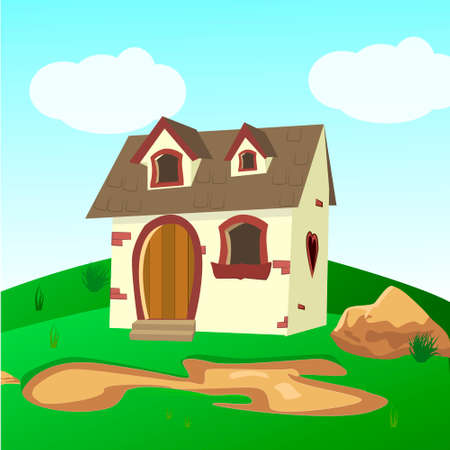 House Inside Green Fields Illustration of a cartoon house on a top of a hill in spring or summer season, inside rounded green landscape Illustration