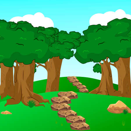 Forest scene with trail in the woods illustration vector Illustration