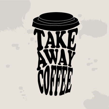 Takeaway. Take away coffee. Take away coffee cup isolated on blackbackground. Vector illustration.