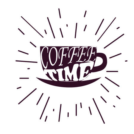 Coffee time Hipster Vintage Stylized Lettering. Vector Illustration