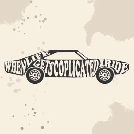 빈티지 미국 근육 자동차 벡터 실루엣입니다. 오래 된 학교 차입니다. 머슬카. 포스터 또는 티셔츠를 인쇄하십시오.