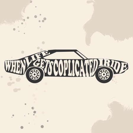 Vintage American Muscle Car Vector Silhouette. old school car. Muscle car. Print for poster or t-shirt. 向量圖像