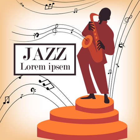 Jazz band with singer, saxophone and piano - vector illustration Illustration
