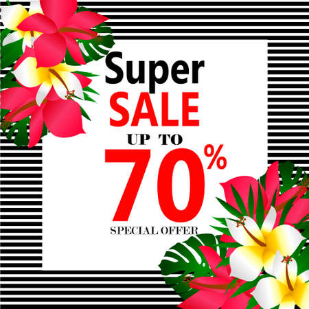 Summer sale Concept. Summer background with tropical flowers.