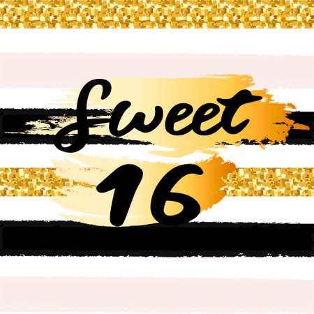 당신의 훈장을위한 황금 반짝이 색종이와 귀여운 축제 밝은 달콤한 16 카드