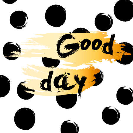 Goldener Funkeln fasst guten Tag auf schwarzem Hintergrund, Schablone für Typografiefahne, Kalligraphiekarte, Plakat, Flieger, T-Shirt Druck ab. Vektorgold funkelnde Abbildung EPS10 Standard-Bild - 83182213