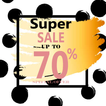 website header: Super Sale. Web Banner with Gold Glitter on White Background. Trendy Vector Templates for fashion store. Special Offer Sale Header.