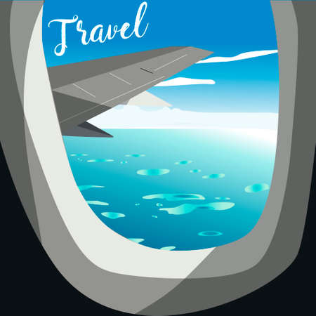 webbanner: View from airplane. Flight window. Vacation destinations. Tropical beach. Flat web vector banner. Illustration