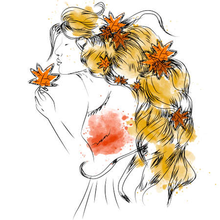 hair style: Vector girl with autumn leaves in long hair illustration