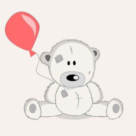 bear s: Greeting card Bear with baloons illustration vector Illustration