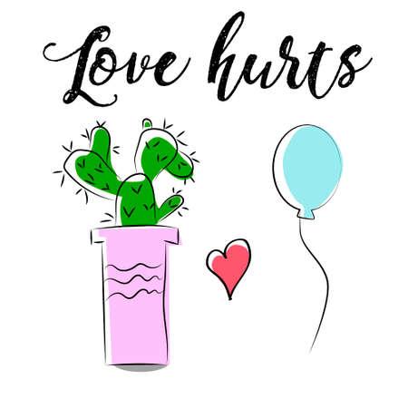 forbidden love: Cute cartoon cactus and balloon hug hand-drawn vector illustration.