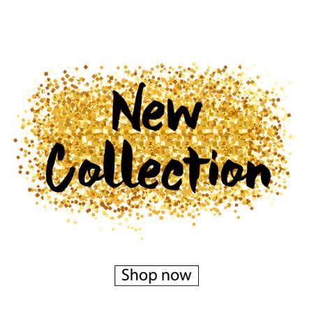 Goldfarbe - Glitter Pinselstriche für den Hintergrund des Plakats. Standard-Bild - 84911303