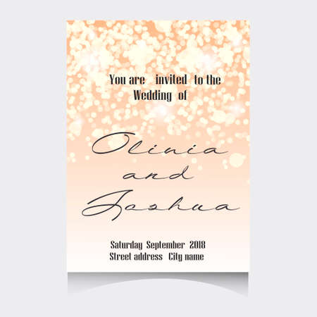 romantic date: Wedding Invitation Cards Template Set with Soft Lights and Vector illustration