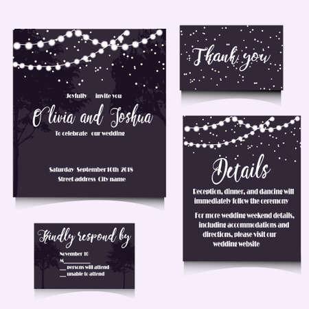 結婚式招待状テンプレート デザイン。編集可能なベクトルの図ファイル。