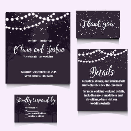 Wedding invitation template design. Editable vector illustration file. Stock fotó - 85136920