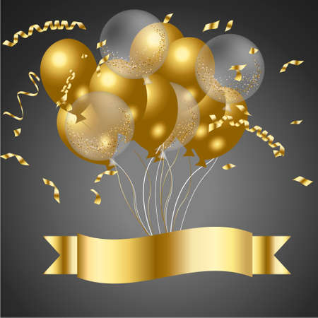 Happy birthday with confetti balloons vector illustrator Vettoriali
