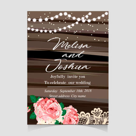 Save the Date Invitation Card with Holiday Lights Stok Fotoğraf - 85210973