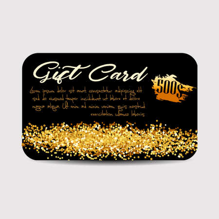 christmas backdrop: Gift Card Template with Golden Dust Texture.