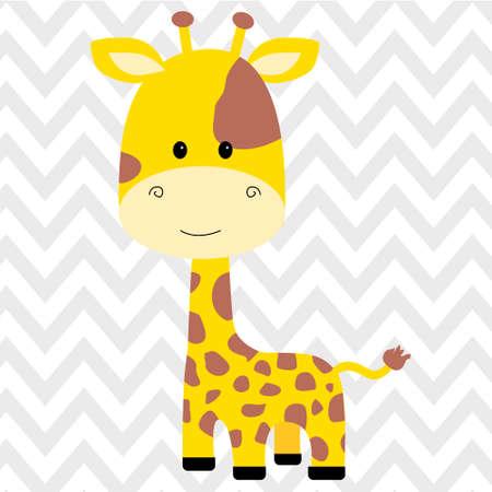 Cute giraffe isolated icon illustration design