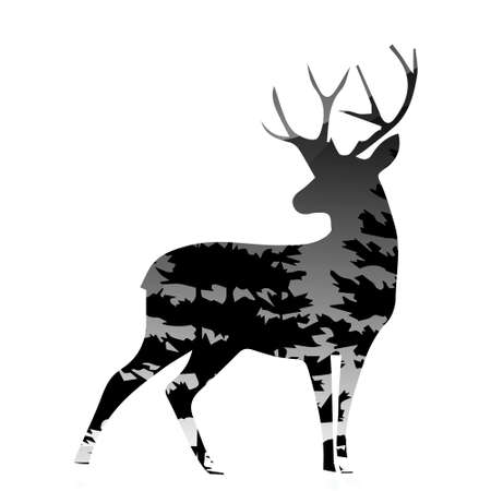 silhouette of a deer with pine forest white background, vector illustration