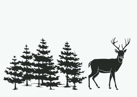 Deer in the forest icon. Stock Vector - 86301047