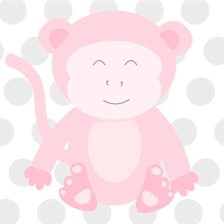 baby announcement card: Pink Monkey Vector Illustration